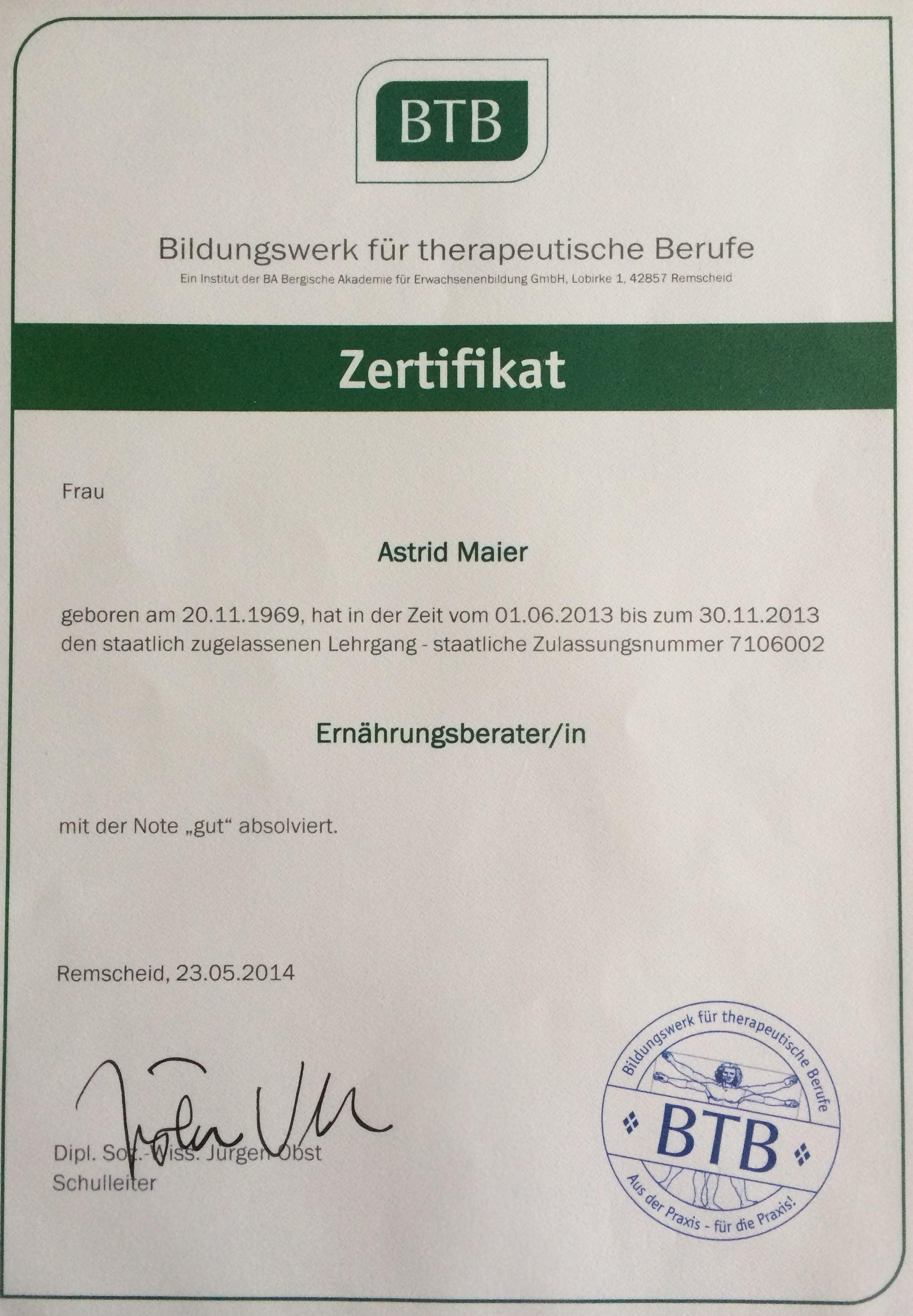 Zertifikat Ernährungsberaterin